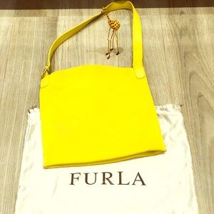 Furla Yellow Leather Shoulder Purse Made in Italy